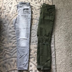 2 pairs of old navy grey/green rockstar jeans